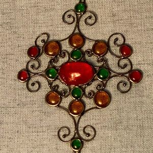 Red, Green & Amber Glass Nuggets Sun Catcher
